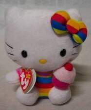"TY Sanrio HELLO KITTY IN STRIPES W/ CUPCAKE 6"" Plush STUFFED ANIMAL Toy NEW"