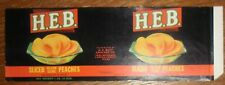 HEB Peach Halves Can Label Harlingen Corpus Christi Texas Piedmont File Copy 29o