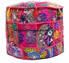 Indian Vintage Patchwork Ottoman Pouf , Indian Living Room Pouf, Foot Stool,