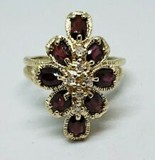 14k Yellow Gold Garnet And Diamond Cocktail Ring Size 7.5