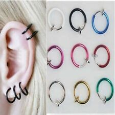 Clip on Fake Hoop Boby Nose Lip Ear Ring stud earrings Punk Goth Piercing Septum