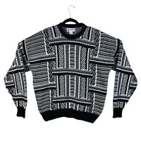 Vtg 90s Made in USA Sweater Hip Hop Mens XL Grey Geometric Knit 80s