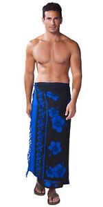 1 World Sarongs Mens Hibiscus Sarong in Blue On Black Hawaiian - LavaLava