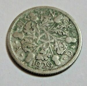 1929 Silver Sixpence King George V