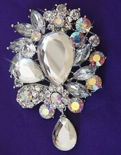 LARGE AB & CRYSTAL  BROOCH RED HAT SOCIETY