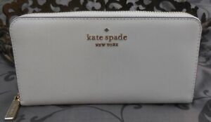 Kate Spade ~STACI Saffiano Leather Continental Zip Around Wallet~WHITE~NWT $229