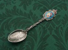 Sterling Montreal Skyline & Hand Enameled Sheild Concordia Salus Souvenir Spoon