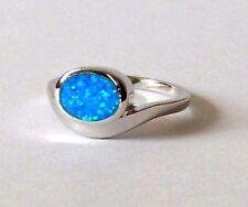 925 Argento Sterling Anello Di Opale Ovale Blu Taglia L, N O R