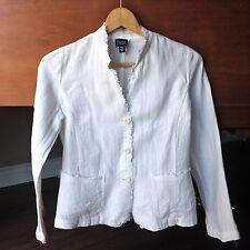Eileen Fisher Blazer XS White Ivory Fringe Trim 100% Irish Linen Jacket Coat
