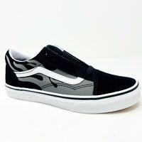Vans Old Skool (Suede Flame) Black True White Junior Youth Casual Sneakers