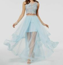 New $255 Say Yes Tp The Prom Juniors' Embellished Blue Crop Top Size 11