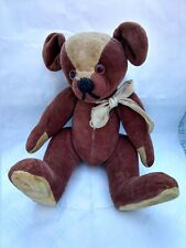 "ANTIQUE 9"" JOINTED VELVETEEN TEDDY BEAR HUMP BACK GLASS EYES STRAW FILLED ~1915"