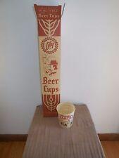 (VTG) 1960s BLATZ BEER 3 GUYS STATUE FIGURES CAN BOTTLE KEG 50 WAX PAPER CUPS
