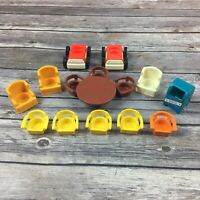 Vintage Fisher Price Little People Play House Playset Furniture Cars Mailbox