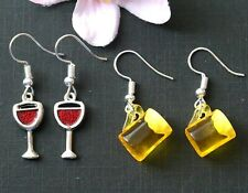 Enamel Glass of Red Wine Glass of Beer Cup Dangle Earrings Silver Plated Party