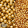925 Sterling Silver 14K Gold Plated SEAMLESS ROUND SPACER BEADS 1.8 - 4mm    213