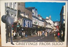 Irish Postcard GREETINGS FROM SLIGO Town Yeats Statue Ireland J Hinde 2/SO-016