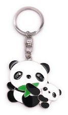 Panda Bear with Baby Key Ring Silver Pendant Made of Metal