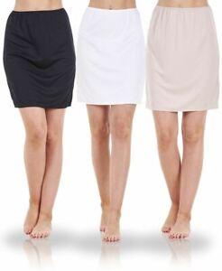 Ladies Seconds Plain Anti Cling Cooling Waist Half Slip Underskirt Petticoat