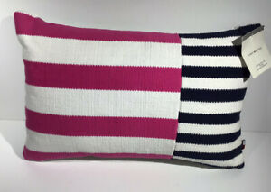Tommy Hilfiger pink and navy nautical decorative pillow 12 x 18 New