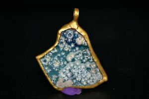 Ancient Iridescent Roman Glass Pendant with Gold Plated Metal Mount