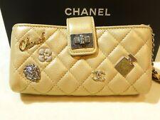Chanel Mini Clutch Gold Iridescent Calfskin Perfume Charms 2015 No 5 Bottle NEW!