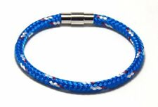 Clasp Men Women Hand Made Usa Blue Rope Bracelet Stainless Steel Magnetic