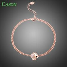 Rose Gold Heart Cubic Zirconia Flower Chain Link Bracelet for Women Jewelry Gift