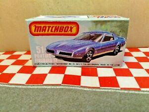 Matchbox lesney Superfast No51 Pontiac Firebird SE EMPTY Repro Box Only  NO CAR