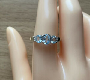 9ct Yellow Gold Blue Topaz & Diamond Three-Stone Ring, UK Size R 1/2, EU Size 59