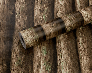 3D BROWN TREES FABLON VINTAGE WALLPAPER VINYL STICKY BACK PLASTIC RUSTIC WOODS