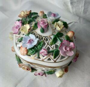 Vintage German KPM Hand Painted Porcelain Jewelry Trinket Box