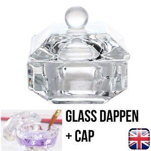 GLASS DAPPEN DISH POT + CAP FOR MIXING ACRYLIC NAIL ART LIQUID POLISH POWDER