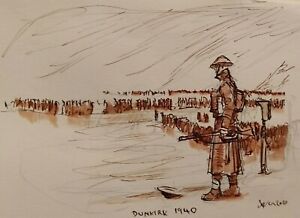 Dunkirk B.E.F operation dynamo  Original study, pen and Bistre on paper