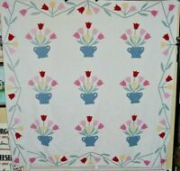 """ANTIQUE  TULIP APPLIQUE QUILT 1940S   NICE PASTELS  78"""" by 78"""" LIGHT WEIGHT"""