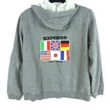 New listing Express Zip Front Hoodie Size Large World Brand Flags Applique Pockets Fleece
