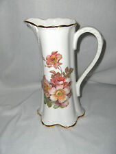 Vintage Tall Porcelain Milk Syrup Pitcher Hand Painted West Germany Nice