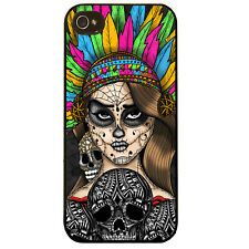 Mayan headdress girl sugar skull aztec tribal pattern tattoo phone case cover