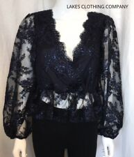TOPSHOP NAVY PEPLUM TOP BLOUSE CROSS OVER V NECK LONG SLEEVE LACE SEQUIN 10-18