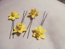"DAFFODIL HAIR PINS IN SETS OF 4 MADE FROM MULBERRY PAPER ON 2.5"" PINS"