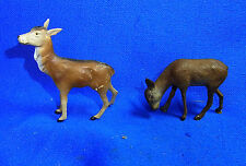 Pair Vintage German Elastolin Lineol Toy Animals Deer #BX1