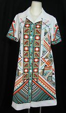 VTG Mod Geometric Graphic Print Shirt Dress 12 Waitress Of White Teal Orange Art