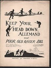 Keep Your Head Down Allemand/Poor Old Kaiser Bill Large Format Sheet Music