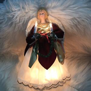"Vintage Victorian Angel Tree Topper 9"" Lights up Works Great"