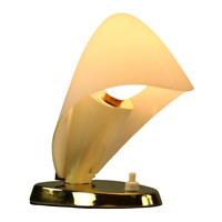 Nachttisch Lampe Glas & Messing Design Lese Leuchte Vintage Nightstand Lamp 50er