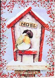 Christmas Noel English Robin Birdhouse w/Red Berry Trim Decorative Large Flag
