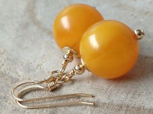 Art Deco Round Pale Orange BAKELITE Beads 14ct Rolled Gold Earrings