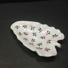 Collectible Lefton China Leaf Shaped, Holiday Hand Painted Trinket Dish (2528)