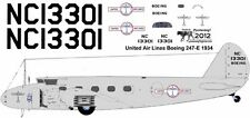 United Airlines 1933 Boeing 247 decals for Williams Brothers 1/72 scale
