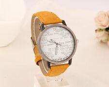 Reloj de cuarzo hombre Casual resistente al agua, resistente a los golpes Imitación Cuero Amarillo